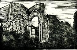 Abbey back | Lino print | 150 x 100mm