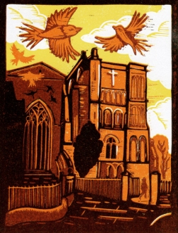 Abbey Sunset | 4-colour reduction lino print | 150 x 200mm