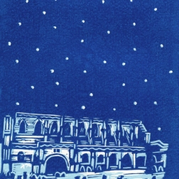 Abbey winter | 2-colour reduction lino print on textured paper | 150 x 200mm
