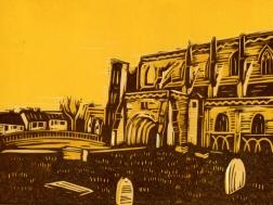 Abbey yellow | 1-colour lino print, on yellow | 200 x 150mm