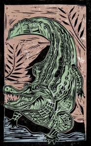 Alligator - Animal Alphabet | Lino print with digital colour | 200 x 250mm