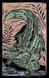 Alligator - Animal Alphabet | Lino print with digital colour | 200 x 250mm