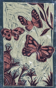 Butterflies - Animal Alphabet | Lino print with digital colour | 200 x 250mm
