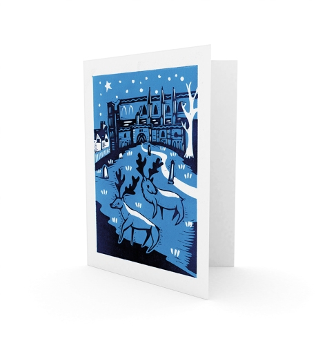Christmas card 4 - 2015 | 2-colour reduction lino print | 100 x 150mm on A5