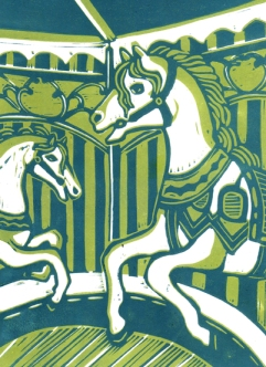 Carousel | 2-colour reduction lino print | 150 x 200mm