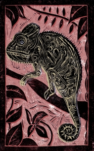 Chameleon - Animal Alphabet | Lino print with digital colour | 200 x 250mm