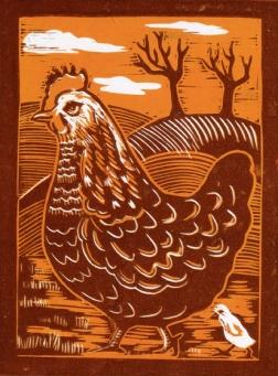 Chicken | 2-colour reduction lino print | 150 x 200mm