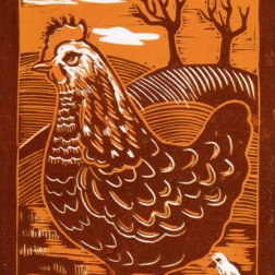 Chicken | 2-colour reduction lino print | 150 x 200mm