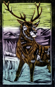 Deer - Animal Alphabet | Lino print with digital colour | 200 x 250mm
