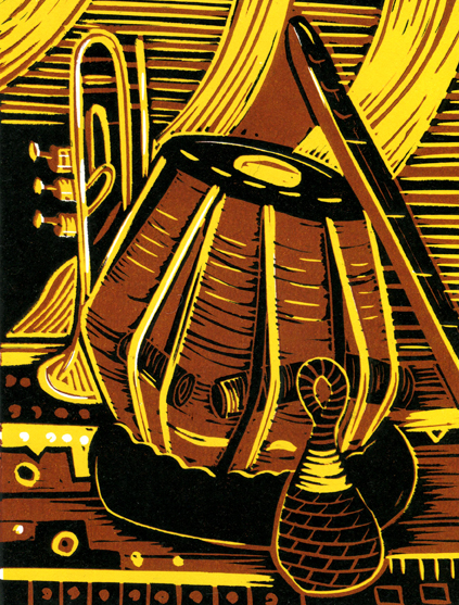 Instrument still life | 3-colour reduction lino print | 150 x 200mm