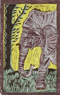 Elephant | Animal Alphabet | Lino print with digital colour | 200 x 250mm