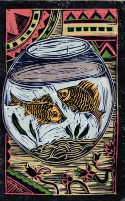 Fish - Animal Alphabet | Lino print with digital colour | 200 x 250mm