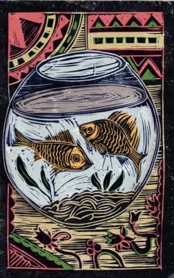 Fish - Animal Alphabet | Lino print with digital colour | 200 x 250mm