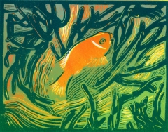 Fishy | 4-colour reduction lino print | 200 x 150mm