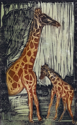 Giraffe - Animal Alphabet | Lino print with digital colour | 200 x 250mm