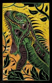 Iguana - Animal Alphabet | Lino print with digital colour | 200 x 250mm