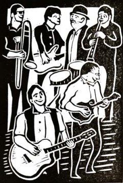 Model Folk | Lino print | 100 x 150mm