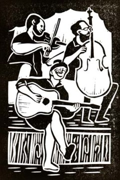 Glenn Ross & the Creeks | Lino print | 100 x 150mm