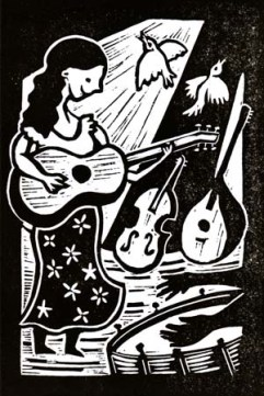 Martha Tilston & the Scientists | Lino print | 100 x 150mm