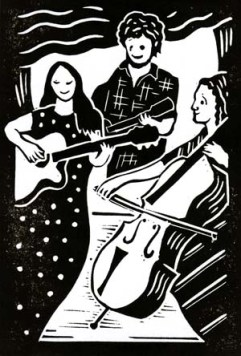 The Bookshop Band | Lino print | 100 x 150mm