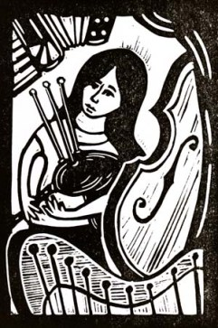 Kathryn Tickell & the Side | Lino print | 100 x 150mm
