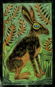 Jackrabbit - Animal Alphabet | Lino print with digital colour | 200 x 250mm