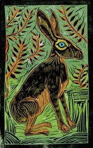 Jackrabbit - Animal Alphabet | Lino print with digital colour | 200 x 250mm