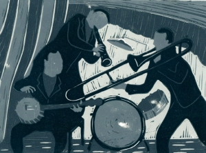 Jazz band | 4-colour reduction lino print | 200 x 150mm