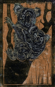 Koala - Animal Alphabet | Lino print with digital colour | 200 x 250mm
