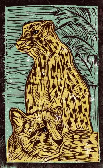 Leopard - Animal Alphabet | Lino print with digital colour | 200 x 250mm