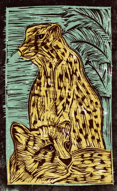 Leopard - Animal Alphabet | Lino print with digital colour | 200 x 250mm