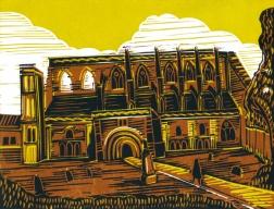 Malmesbury 4 (The Abbey) | 4-colour reduction lino print | 200 x 150mm
