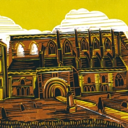 Malmesbury 4 (The Abbey) | 4-colour reduction lino print | 200 x 150mm