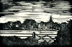Malmesbury 3 BW (Daniel's Well) | Lino print | 150 x 100mm