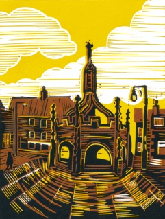 Malmesbury 4 (Market Cross) | 3-colour reduction lino print | 150 x 200mm