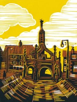 Malmesbury 4 (Market Cross) | 3-colour reduction lino print | 150 x 200mm