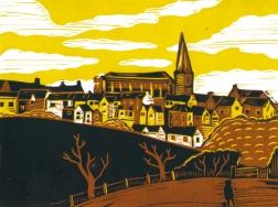 Malmesbury 4 (Daniel's Well) | 3-colour reduction lino print | 200 x 150mm