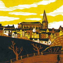 Malmesbury 4 (Daniel's Well) | 3-colour reduction lino print | 200 x 150mm