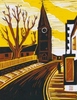 Malmesbury 4 (Clock tower) | 3-colour reduction lino print | 150 x 200mm