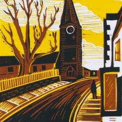Malmesbury 4 (Clock tower) | 3-colour reduction lino print | 150 x 200mm