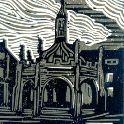 Market Cross BW | 2-colour reduction lino print | 150 x 200mm