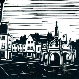 Market cross BW2 | Lino print | 150 x 100mm