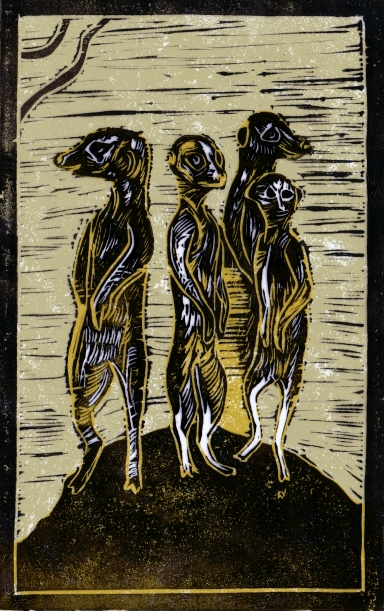 Meerkats - Animal Alphabet | Lino print with digital colour | 200 x 250mm