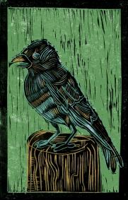 Nightingale - Animal Alphabet | Lino print with digital colour | 200 x 250mm
