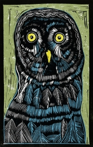 Owl - Animal Alphabet| Lino print with digital colour | 200 x 250mm