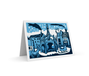 Christmas card 2 - 2015 | 2-colour reduction lino print | 100 x 150mm on A5 |