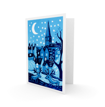 Christmas card 1 - 2015 | 3-colour reduction lino print | 100 x 150mm on A5 |