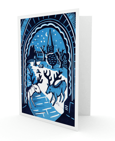 Christmas card 3 - 2015 | 2-colour reduction lino print | 100 x 150mm on A5