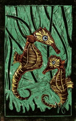 Seahorse - Animal Alphabet | Lino print with digital colour | 200 x 250mm