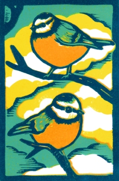Spring birds | 4-colour reduction lino print | 150 x 200mm